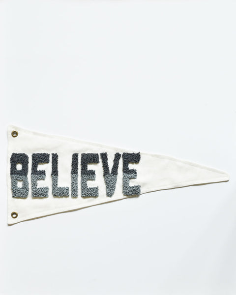 """Believe"" Pennant - Blue Gray"