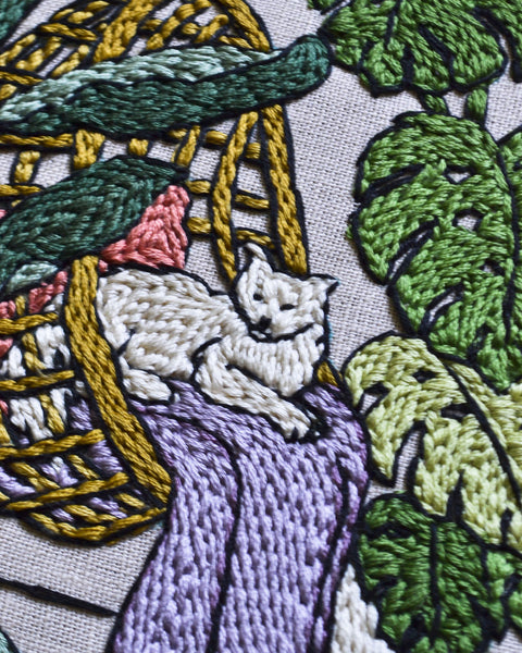 Jungalow Cat Embroidery Pattern PDF