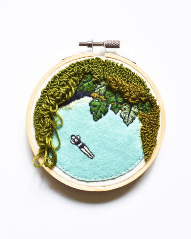 Mini Lagoon No. 4 Original Art - 4 in. hoop
