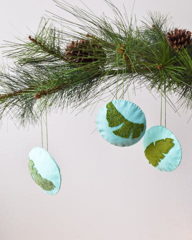 Tropical Christmas Ornaments - Set of 3