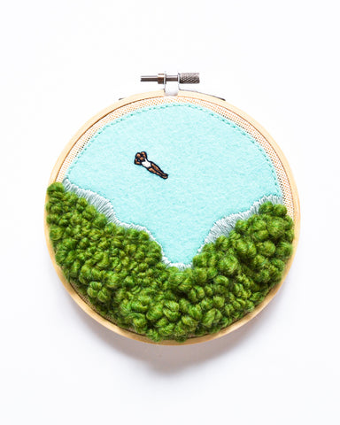 Mini Lagoon No. 7 Original Art - 5 in. hoop