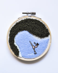 """Winter Skating"" Original Art - 4 in. hoop"