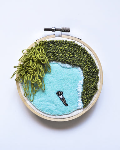 Mini Lagoon No. 12 Original Art - 4 in. hoop