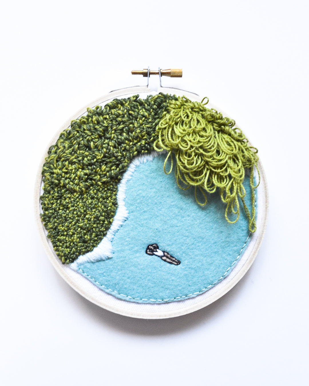 Mini Lagoon No. 18 Original Art - 5 in. hoop