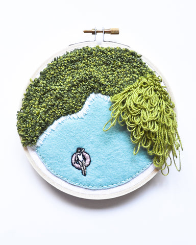 Mini Lagoon No. 17 Original Art - 5 in. hoop