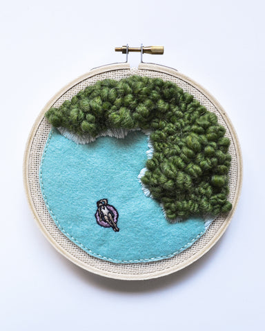 Mini Lagoon No. 15 Original Art - 5 in. hoop