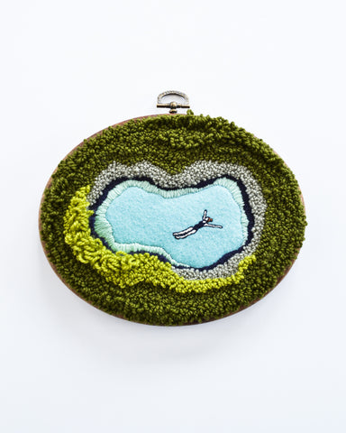 Mini Lagoon No. 26 Original Art - Oval hoop