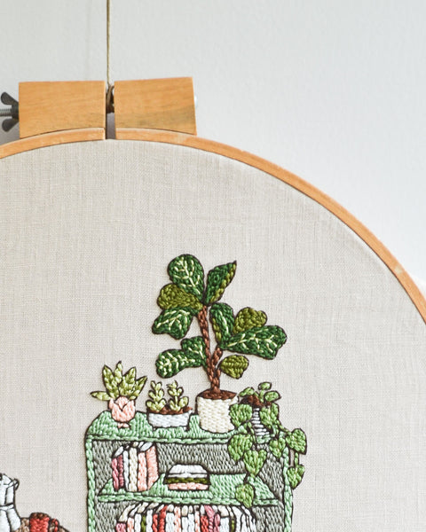 Cozy Reading Nook Embroidery Pattern PDF