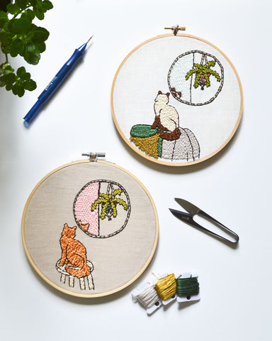 Cat in the Mirror Embroidery Pattern PDF