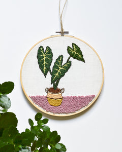 Alocasia Plant Embroidery Art