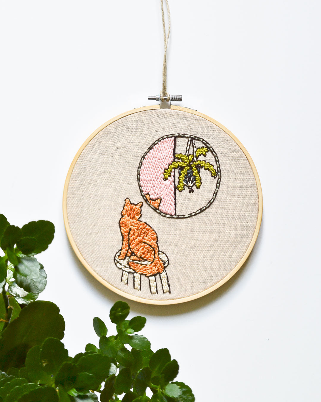 Orange Tabby Cat Embroidery Art