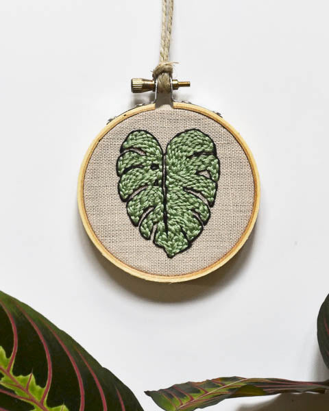 Tiny Monstera Leaf Embroidery Art