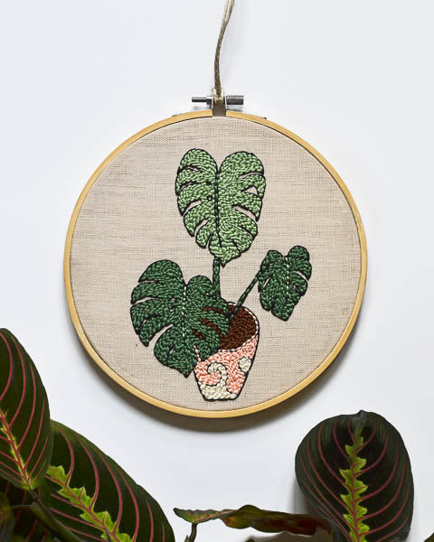 Monstera Plant Embroidery Art
