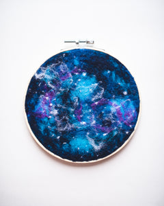 Galaxy Wool Felted Original Art no. 4 - 6 in. hoop