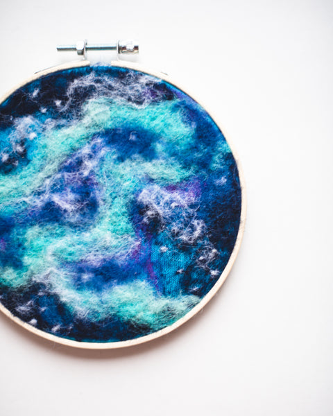 Galaxy Wool Felted Original Art no. 3 - 5 in. hoop