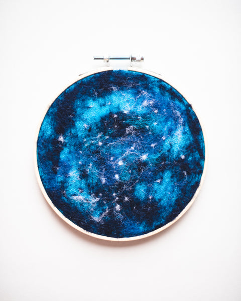 Galaxy Wool Felted Original Art no. 2 - 5 in. hoop