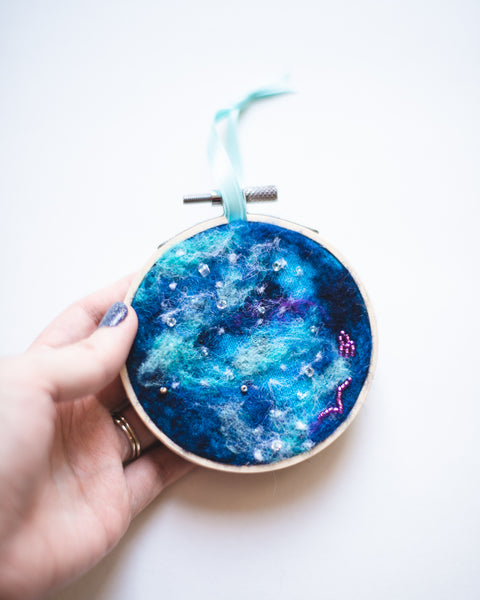 Galaxy Ornament Wool Felted Original Art no. 3 - 3 in. hoop