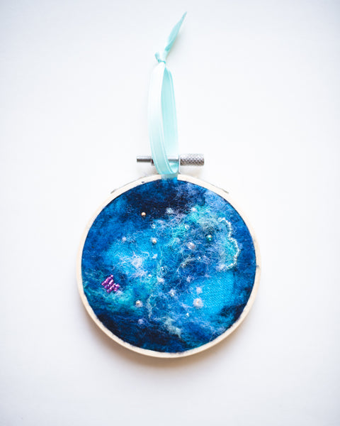 Galaxy Ornament Wool Felted Original Art no. 4 - 3 in. hoop