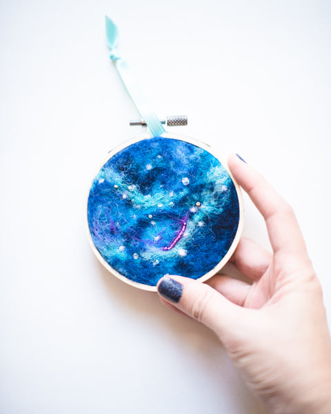 Galaxy Ornament Wool Felted Original Art no. 2 - 3 in. hoop