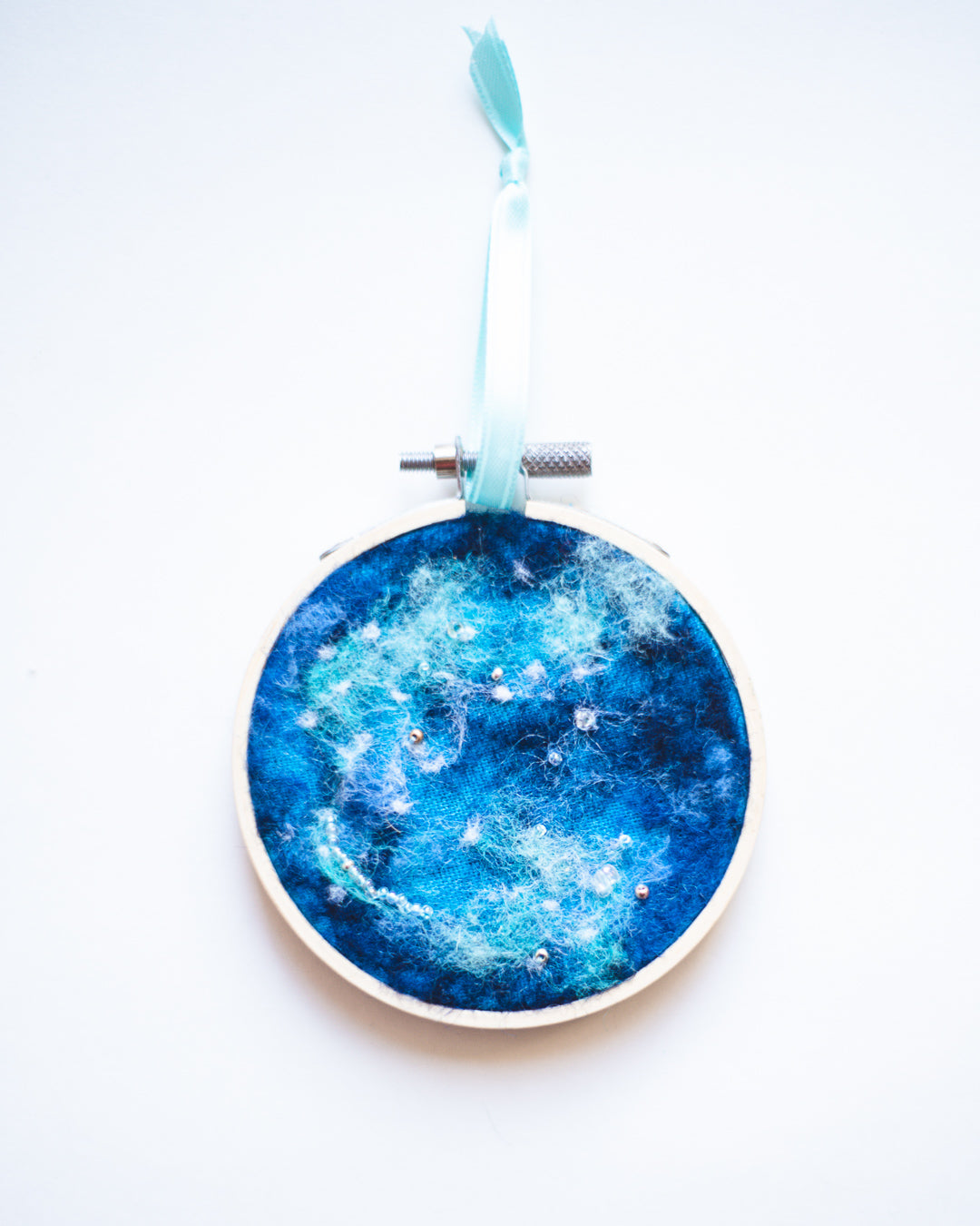 Galaxy Ornament Wool Felted Original Art no. 1 - 3 in. hoop