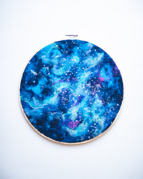 Galaxy Symphony no. 1 Wool Felted Original Art - 10 inch hoop