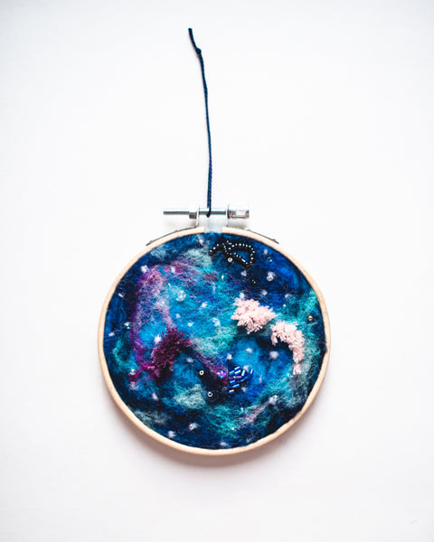 Galaxy Symphony no. 5 Wool Felted Original Art - 4 inch hoop
