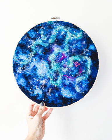 Galaxy Symphony no. 2 Wool Felted Original Art - 12 inch hoop