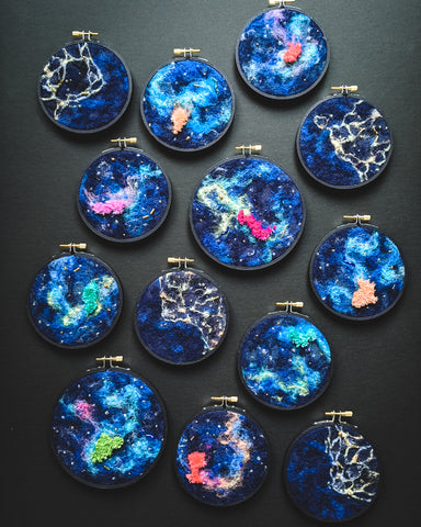 Galaxy Night Sky - Wool Felted Original Art - 4 & 5 inch hoop