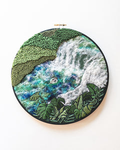"""Waterfall Lagoon"" Large Embroidery Art - 9 inch hoop"