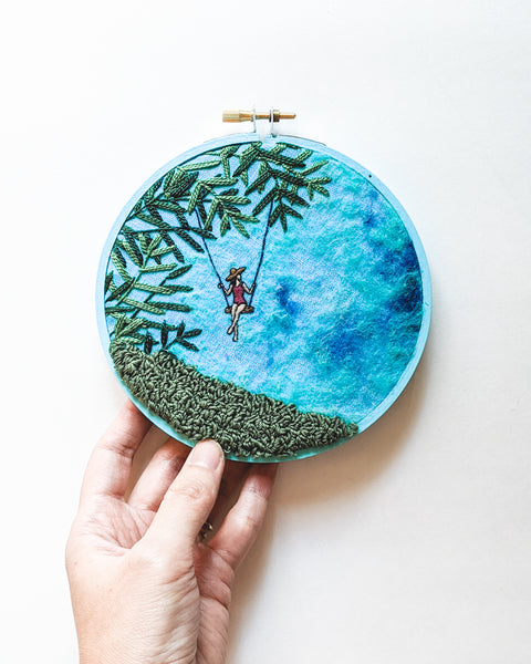 "Embroidery Art - ""Seaside Swing"" - 5 inch hoops"