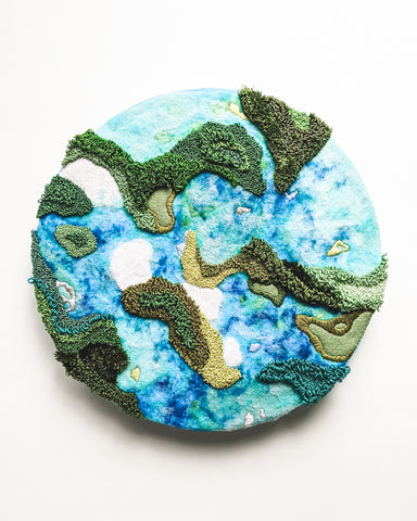 "Original Fiber Art - ""Islands and Lagoons no. 2"""