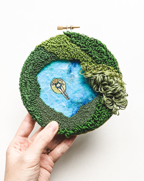 "Embroidery Art - ""Mini Lagoon no. 35"" - 5 inch hoop"