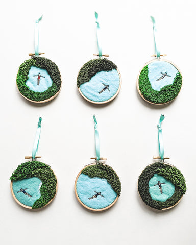 "Embroidered Ornament - ""Mini Lagoons"" - 3 inch hoops"
