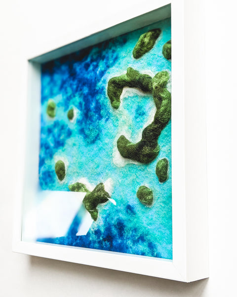 "Original Fiber Art - ""Islands and Lagoons no. 4"""