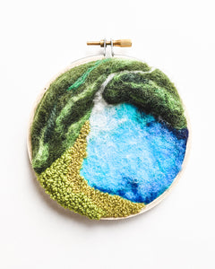 "3D Fiber Landscape Art - ""Mini Waterfall Lagoon no. 2"" - 4 inch hoop"