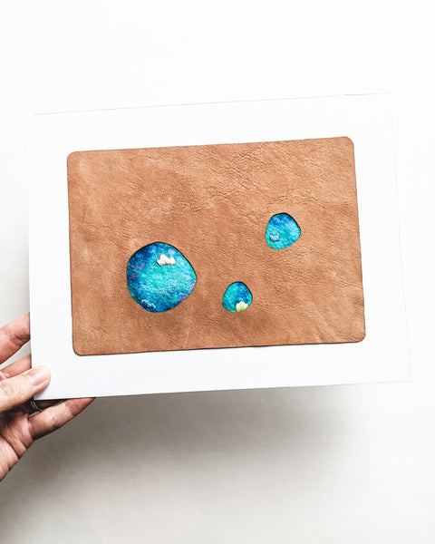 "Abstract Landscape Art - ""Secret Lagoon and Tide Pools"" - 5 x 7 Leather"