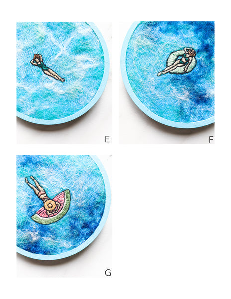 "Mini Embroidery Art - ""Summer Pool Party"" - 3 inch & 4 inch Hoops"