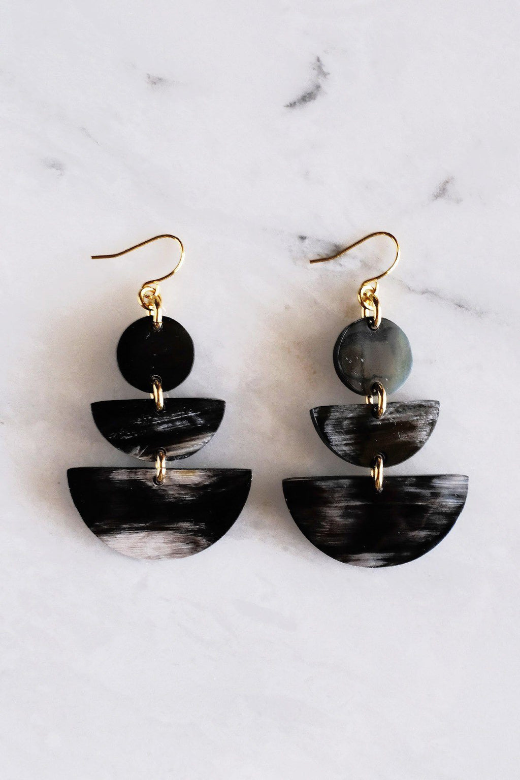 dark buffalo horn earrings