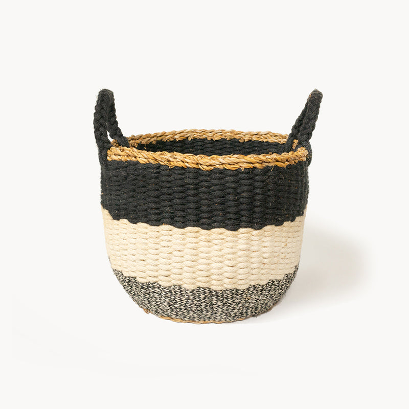 black and white handmade basket