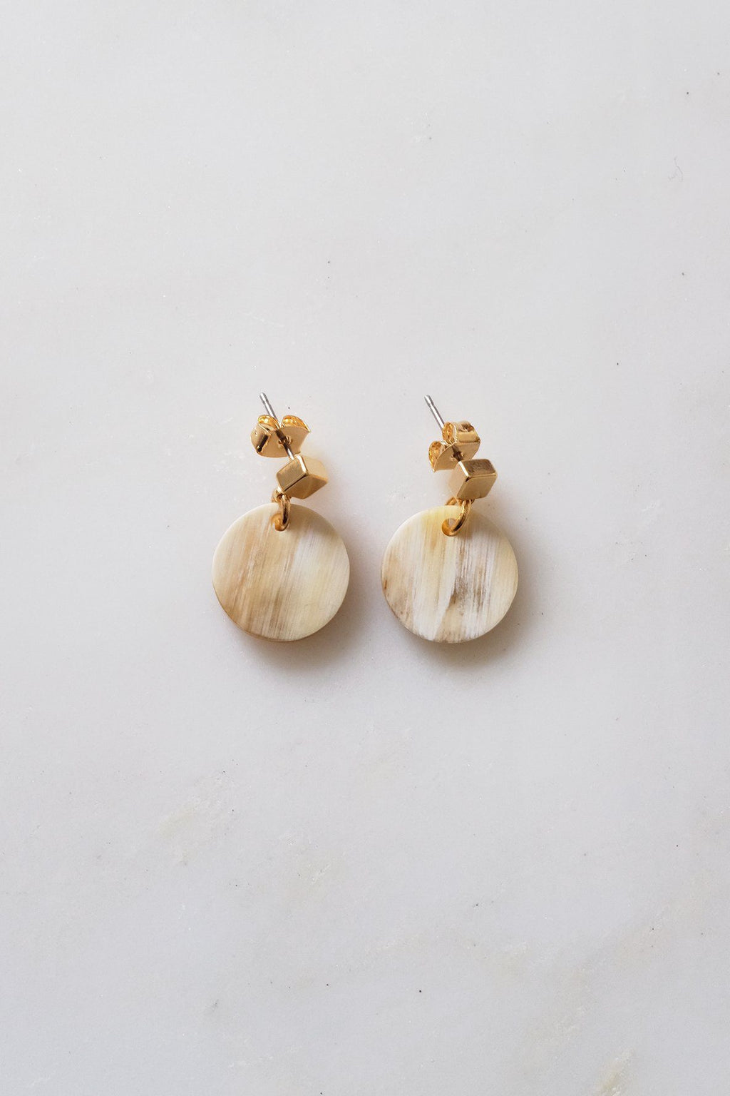 Nho Be Circle Buffalo Horn Stud Dangle Earrings