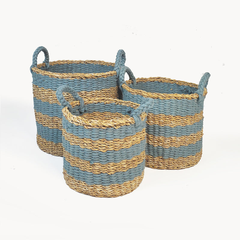 Ula Blue Stripe Basket (Set of 3)