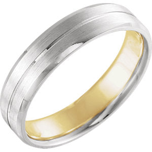 14K White & Yellow 5mm Comfort-Fit Band with Matte Finish Size 9