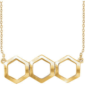 "14K Yellow Geometric 16-18"" Necklace"
