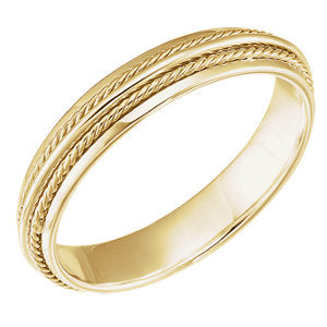 14K Yellow 4.5mm Fancy Band Size 11