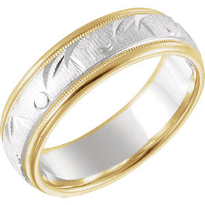14K Yellow & White 6.85mm Comfort Fit Fancy Band Size 8.5