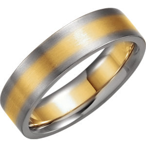 14K Yellow & White 6mm Comfort-Fit Band Size 12.5