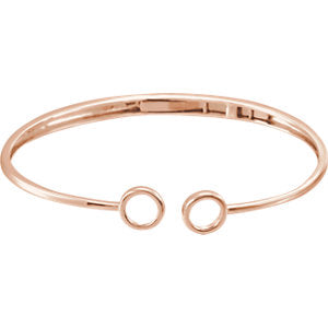 "14K Rose Hinged Circle Cuff 7"" Bracelet"