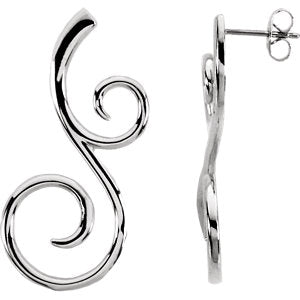 14K White Scroll Fashion Earrings