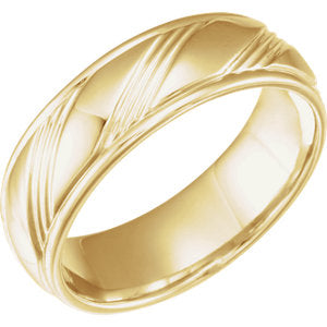 14K Yellow 6.5mm Fancy Band Size 10