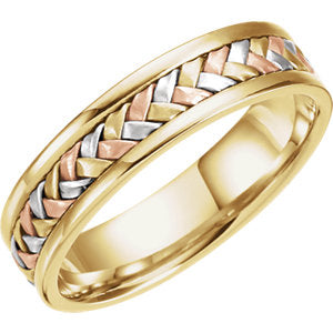 14K Yellow & White & Rose 5mm Woven Band Size 11